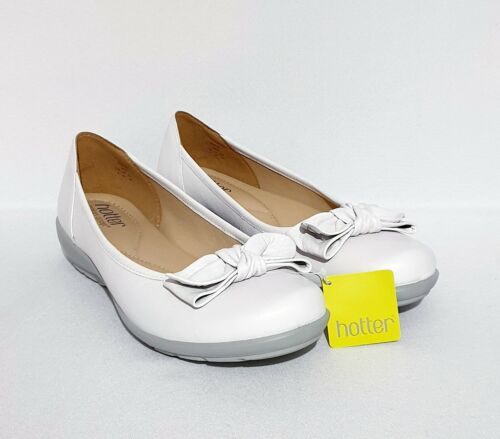 Hotter Jewel White Genuine Leather Shoes Ballerinas Pumps UK 8 STD Womens