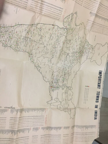 """RARE ANTIQUE VINTAGE OLD MAP OF INDIA TOWNS PAPER EAST PAKISTAN SIZE 80""""/29"""""""