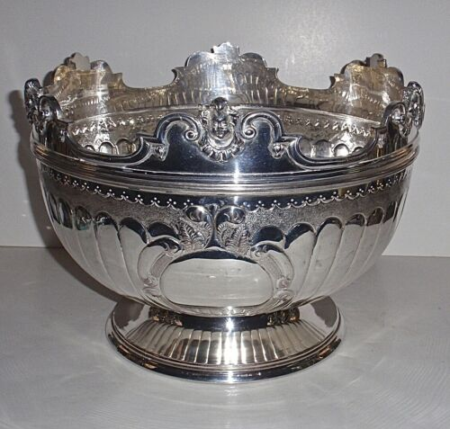 Vintage Queen Ann Style Monteith Bowl Hallmarked Silverplate with Detachable Rim