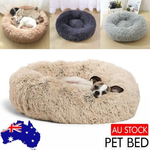 Pet Cat Dog Calming Bed Warm Soft Plush Round Nest Comfy Sleeping Kennel Cave AU