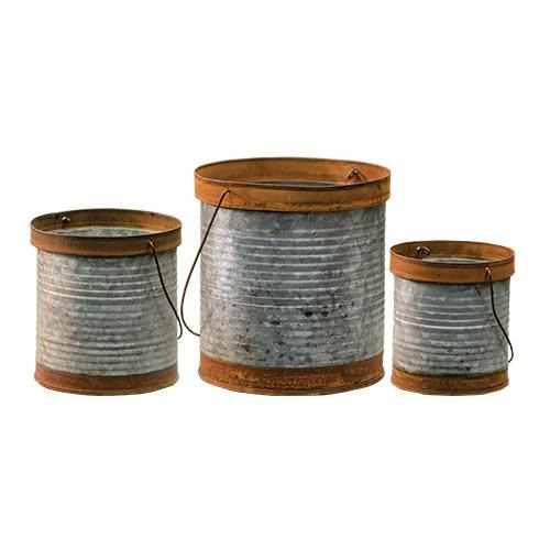 New Primitive Country 3 RUSTY GALVANIZED BUCKETS Rustic Can Pail Pot Container