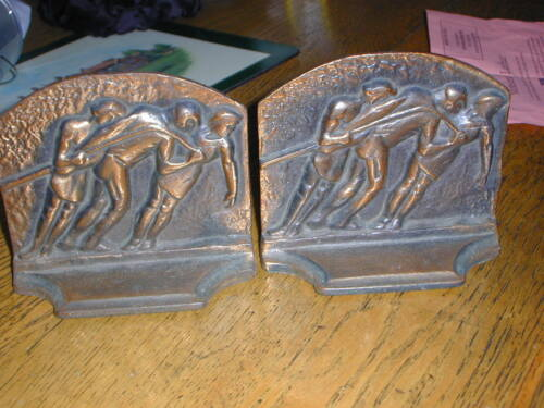 Wonderful Arts & Crafts Copper Plated Cast Iron GALLEY SLAVES Bookends