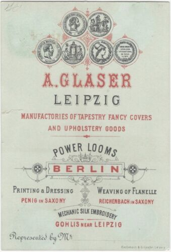 1885 Antwerp Exposition Leipzig Textile & Tapestry Manufacturer's Trade Card