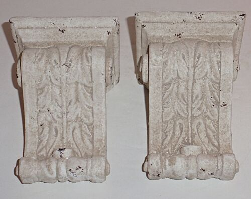 Fancy Pair Off White Porcelain Classical Leaf Scroll Wall Hanging Shelf Sconces