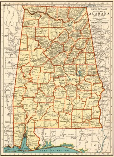 1936 Antique ALABAMA State Map Vintage Map of Alabama Wall Art 7748