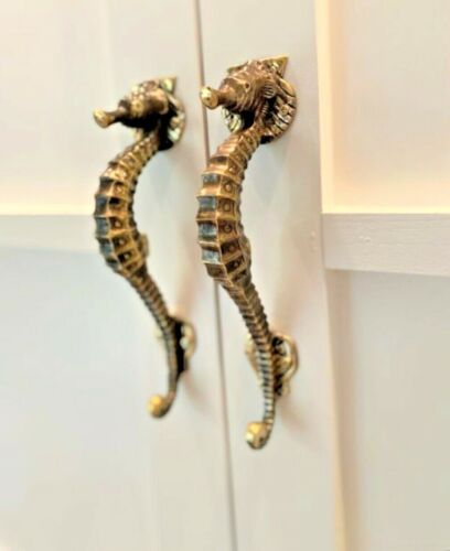 """2 small SEAHORSE solid 100% brass door polished old style PULL handle 10"""" sea B"""