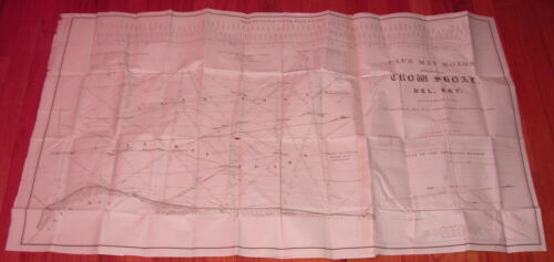 HUGE 1836 CAPE MAY - NEW JERSEY MAP ROADS DELWARE BAY 100% AUTHENTIC