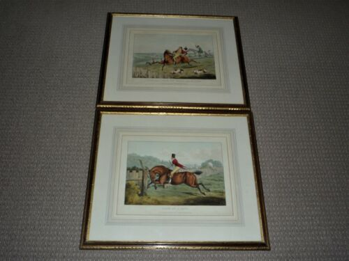 ANTIQUE 2 ENGLISH HUNTING HAND COLOURED ENGRAVINGS DATED 1821  BY S & J FULLER