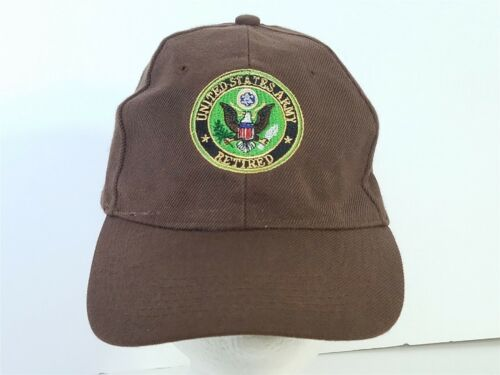 United States Army Retired Brown Ball Cap Hat Military AdjustableArmy - 66529