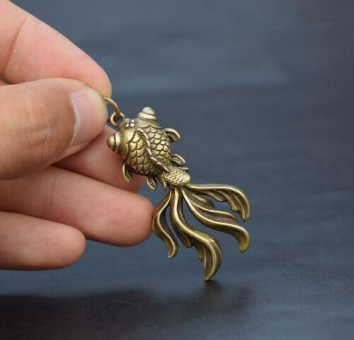 Chinese Collection old Asian archaize brass goldfish Exquisite small pendant