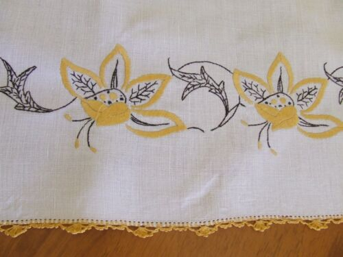 Large Vintage Hand Embroidered Tablecloth - Gold Stylised Florals & Crochet Edge