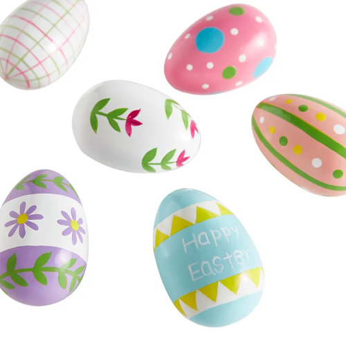 Pier 1 Imports Multicolor Painted Pine Wood Easter Eggs Set Of 6
