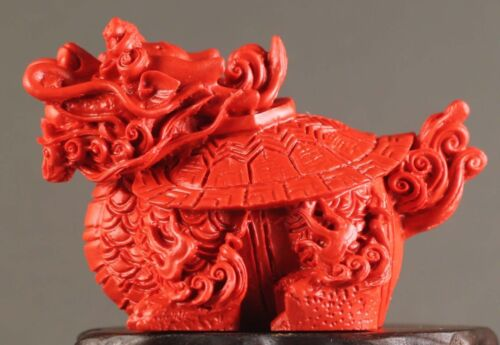 Chinese natural cinnabar red jade hand-carved dragon tortise pendant 2.2 inch