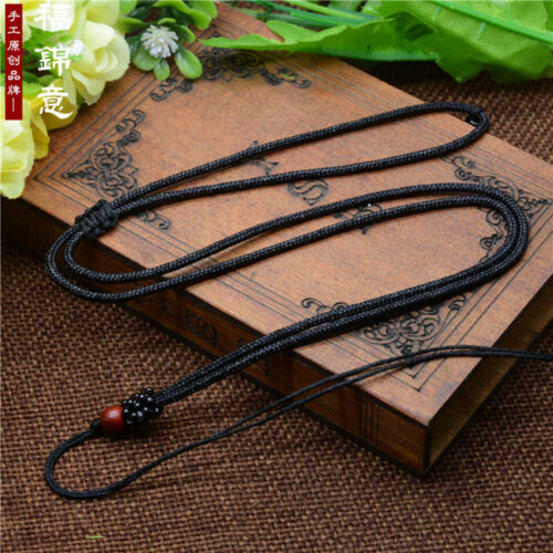 1Pc Natural wood beads Black Circle string cord rope for pendant Necklace
