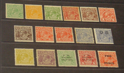 KGV Mint stamp selection. 16 different with values to 4d.