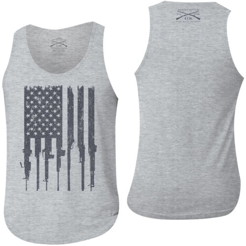 Grunt Style Rifle Flag Tank Top - Heather Gray <br/> Exclusive Seller of Grunt Style on eBay