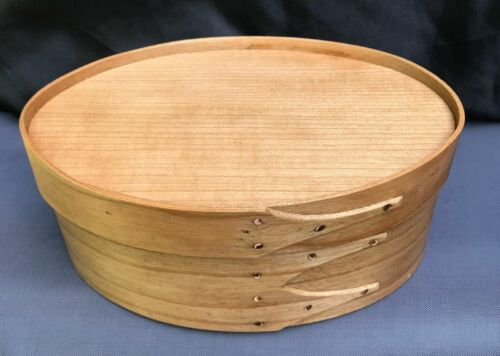 CHERRY SHAKER OVAL RECESSED TOP NEEDLEWORK BOX---- SIZE # 3