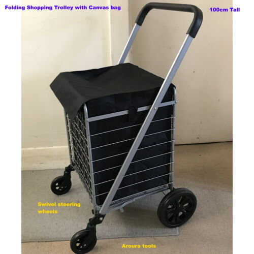 FOLDING SHOPPING TROLLEY WITH STEERING & CANVAS BAG - BRAND NEW.