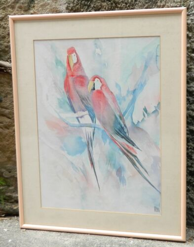 VINTAGE Two Parrots Watercolor Painting by Terry Madden