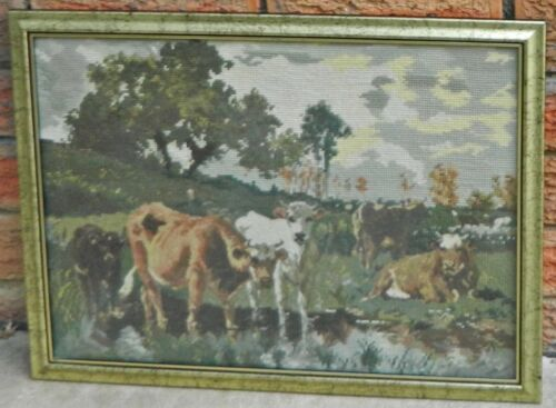 VINTAGE Country Cow Scene Framed Needlepoint Tapestry Art