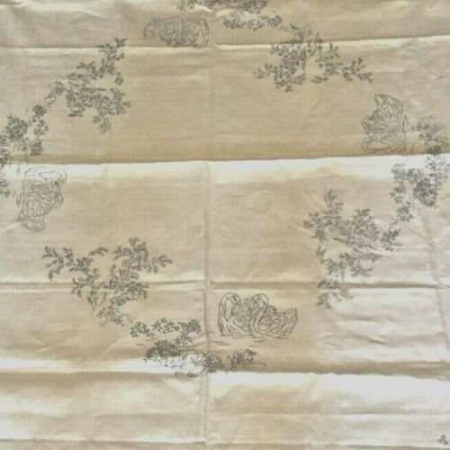 Vintage linen tablecloth swans and geraldton wax --- new old stock - unembroider