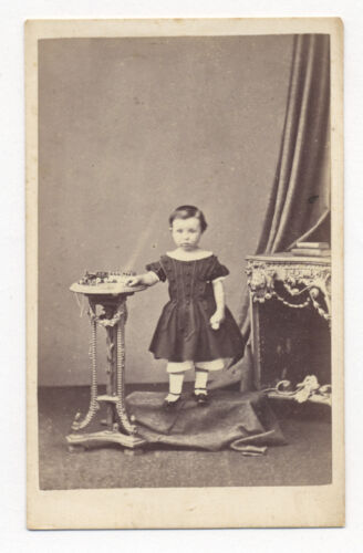 1860's CDV Photo Child with GERMAN PAINTED TIN TOY TRAIN ENGINE with 3 Cars