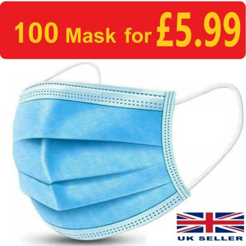 100 x Disposable Face Mask 3 PLY Disposable Face Mask <br/> 100 masks for £7.49 ⭐⭐3 PLY⭐⭐SEALED MASK⭐⭐TOP QUALITY⭐⭐