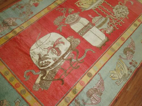 Antique East Turkestan Khotan Rug Size 6'x9'7''