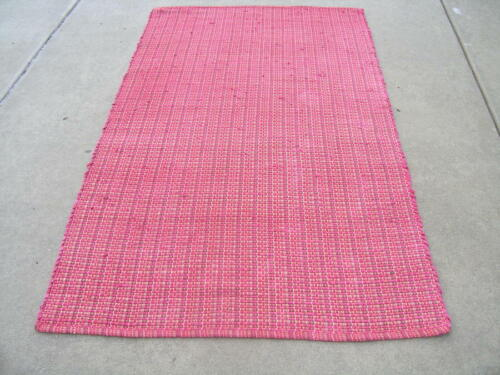 Vintage Primitive Hand Woven Pink Rags Rug 48x75 inches  ~ 1/2 inches thick