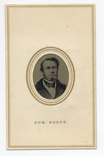 1860's TINTYPE CDV PHOTO CIVIL WAR COMMODORE FOOTE, COMMANDED GUNBOAT