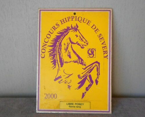2000 French metal Equine award YELLOW Plaque Sign HORSE