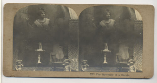 1880's-1890's SPIRITUALISM STEREOVIEW SPIRIT PHOTO OF FLOATING WOMAN, #A