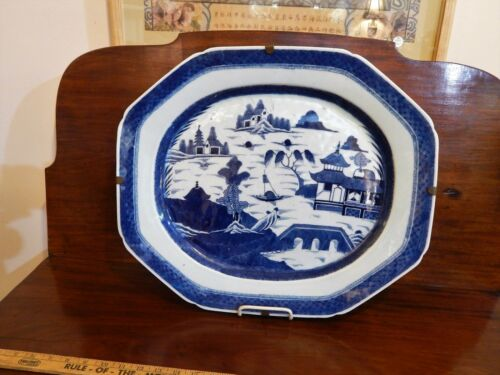 Large 19th Century Chinese Export Blue And White Canton Nanking Platter 20""