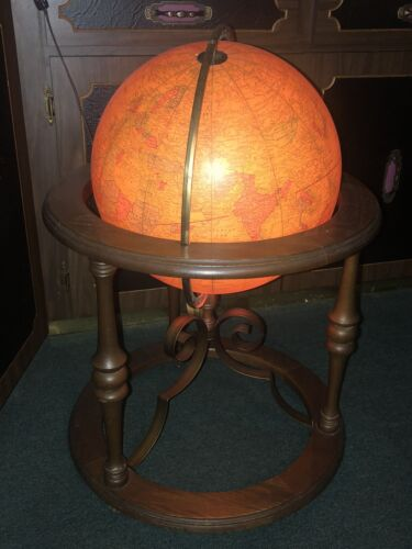 """VINTAGE 16"""" DELUXE LIGHT UP GLOBE-GEORGE F CRAM CO-BUTLER 941 WOOD ROLLING STAND"""