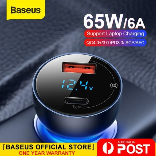 Baseus 65W Car Charger PD QC4.0 FAST Charge USB Type C Cigarette Lighter Adapter