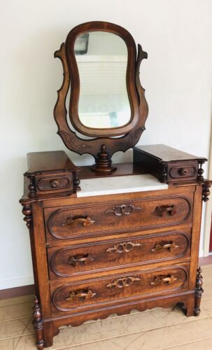 Victorian Walnut Carved Dresser With Marble Top And Pedestal Mirror