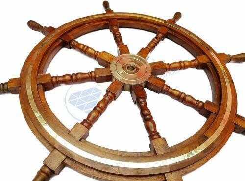 "36"" Brass Ring Pirate Captain Wheel Nautical Marine Wooden Steering Ship Wheel"