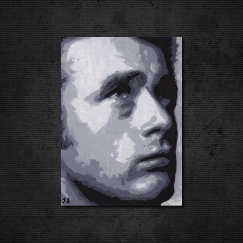 """JAMES DEAN Original OIL PAINTING 2.5""""x3.5"""" New ACEO Art Card. Actor Film Movies"""