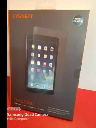 "CYGNETT TOUGH GLASS OpticShield for 9.7"" iPad (2017, 2018) iPad Pro Air 2 Air"