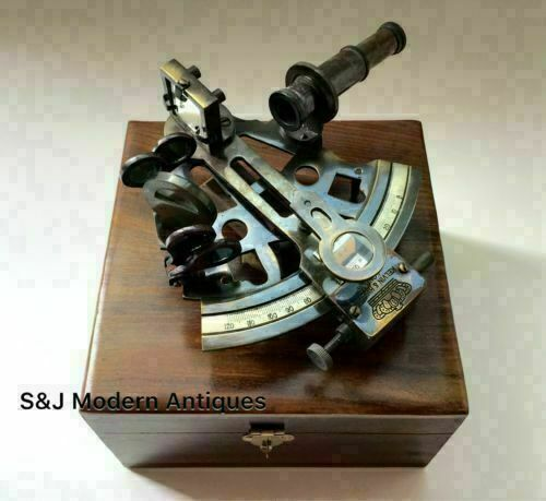 Brass Antique Finish Table Top Maritime Nautical Style Sextant W/Wooden Box Gift