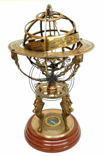 "18"" Nautical Brass Sphere Engraved Armillary Antique Finish Astrolabe Compass"