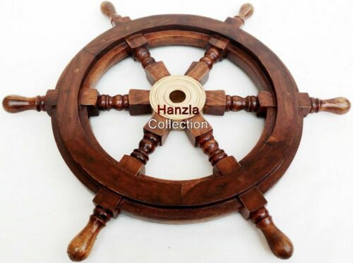 """18"""" Brass Wooden Nautical Ship Steering Wheel Pirate Wood Wall Boat Decor Gift"""