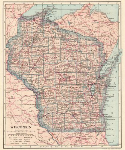 1906 Antique WISCONSIN State Map Vintage of Map of Wisconsin Wall Art 8225
