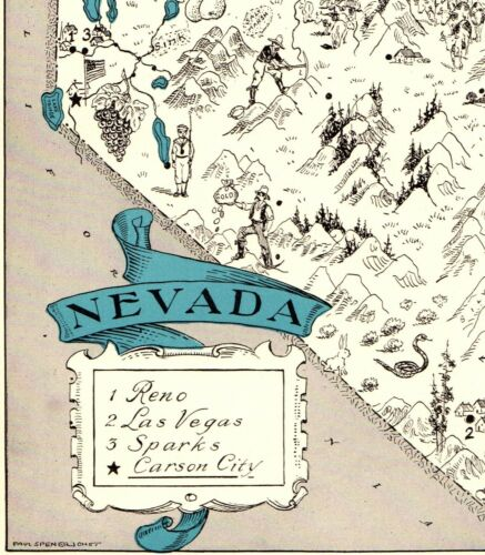 1930s Antique NEVADA State Map RARE Animated Picture Map of Nevada BLU 6883
