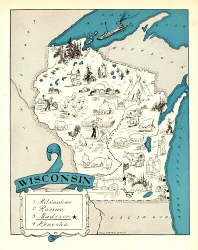 1930s Antique WISCONSIN State Map RARE Animated Picture Map  BLU 6898