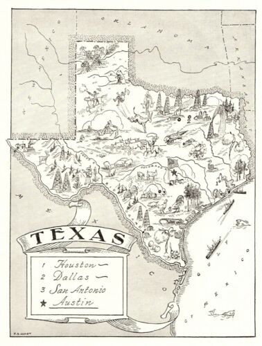 1950s Antique TEXAS State Map Animated Map of Texas Picture Map BW 6830