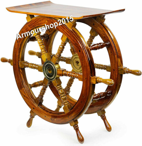 """24"""" Brass Decorative Solid Wood Nautical Style Steering Ship Wheel Table Gift"""