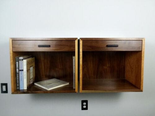 Custom Pair of Floating Nightstands in Walnut and cherry Mid Century Style
