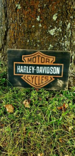 Large Harley Davidson Wooden / Wood Sign Bar And Shield
