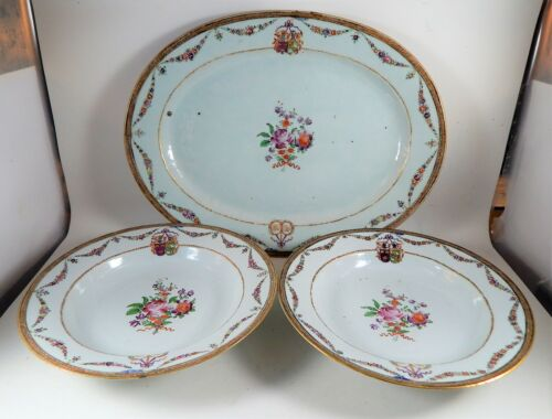 Antique Chinese Export Armorial UNITY Marriage Platter and Bowls 18th / 19th C